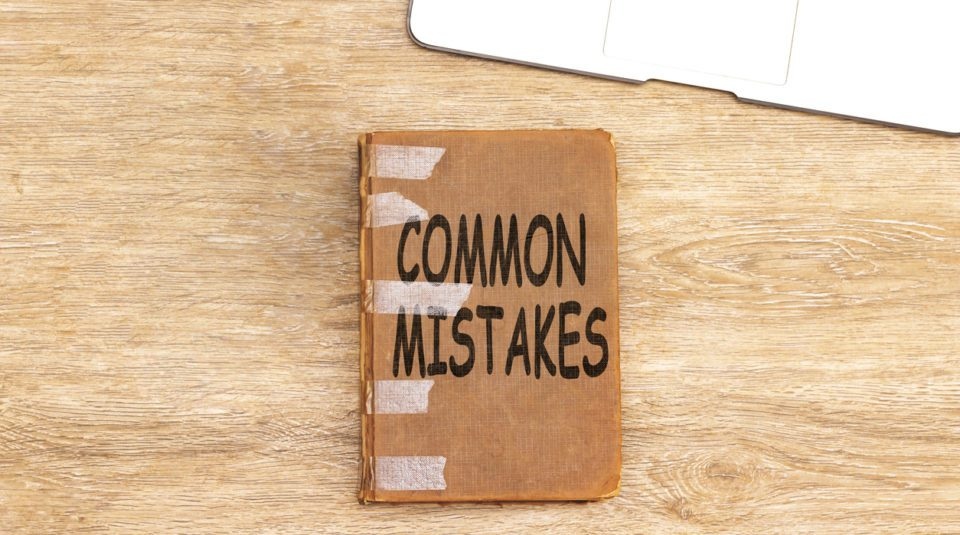 Common Mistakes on old book Motivational Call. Conceptual
